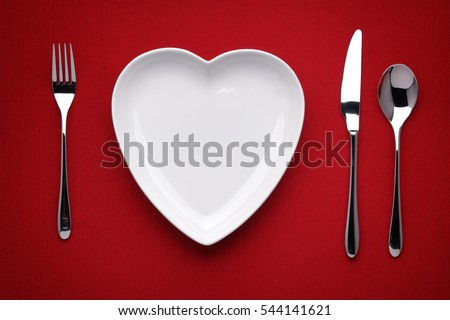 Valentine's day set with red heart on plate and silverware, special dinner, vector illustration Stock photo © ikopylov