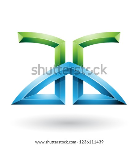 Blue and Green Bridged Embossed Letters of A and G Vector Illust Stock photo © cidepix