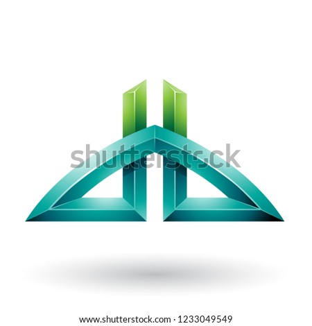 Light and Dark Green Bridged Letters of D and B Vector Illustrat Stock photo © cidepix