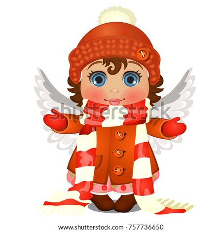 Animated cute little girl with blue eyes in winter clothes, warm knitted hat with pompom, striped sc Stock photo © Lady-Luck