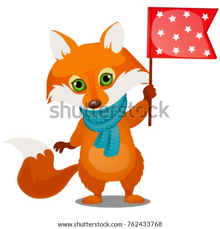 Cute animated fox in winter knitted scarf holding a flag isolated on a white background. Sketch of C Stock photo © Lady-Luck