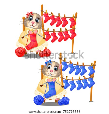 Cute hamster smiling and knitting socks isolated on white background. Hobby and handmade manufacturi stock photo © Lady-Luck