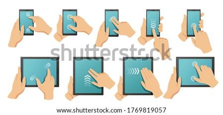 Hand tablet toepassing symbolen iconen aanraken Stockfoto © ra2studio
