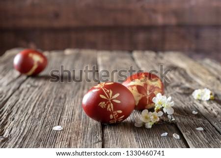 Ostereier gefärbt Zwiebel Muster frischen Kräuter Stock foto © madeleine_steinbach