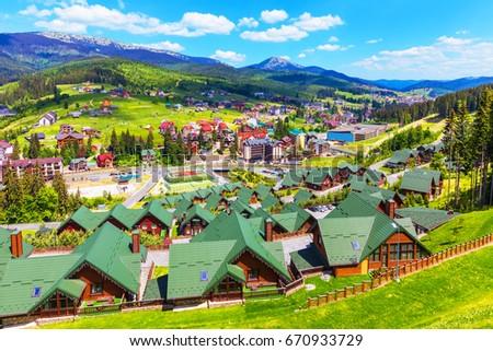 WInter Carpathians village. Bukovel, Ukraine Stock photo © joyr