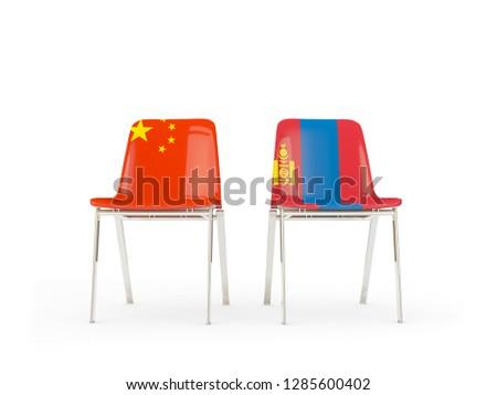 Kettő székek zászlók Kína Mongólia izolált Stock fotó © MikhailMishchenko