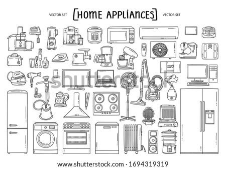 mobiliário · cozinha · conjunto · moderno · ilustração · casa - foto stock © rastudio