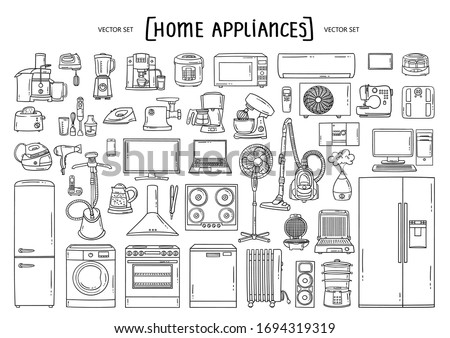 Stockfoto: Keuken · interieur · schets · doodle · icon