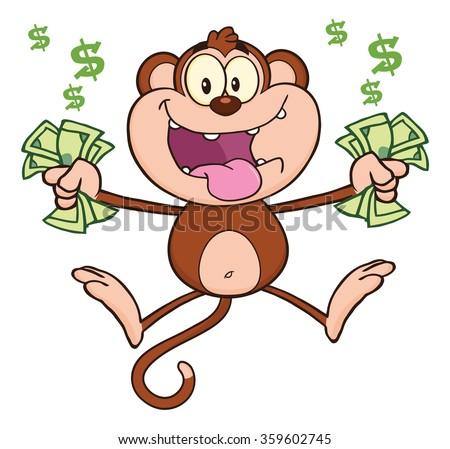 Ricca scimmia jumping contanti soldi Foto d'archivio © hittoon