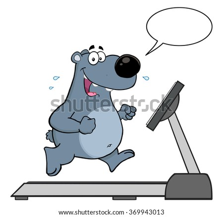 smiling gray bear cartoon character running on a treadmill with speech bubble stock photo © hittoon