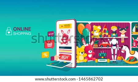 Online shopping - modern colorful isometric vector web banner Stock photo © Decorwithme