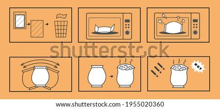 ポップコーン 電子レンジ 料理 説明書 マニュアル パッケージ ストックフォト © heliburcka