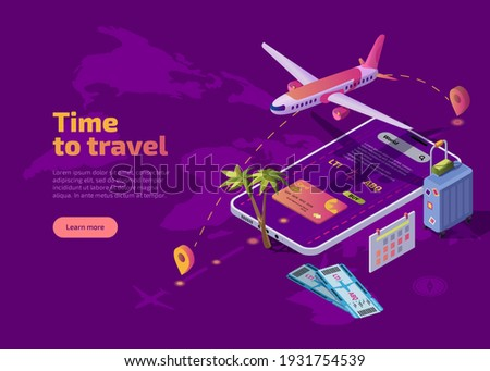 landing page design banner with airplane flying over tropical island top view passenger aircraft stock photo © marysan