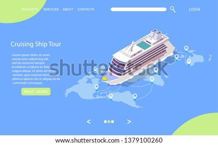 landing page design banner with liner cruise ship in water ocean island with palm trees blue sk stock photo © marysan