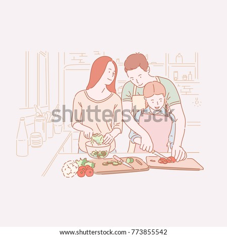 father and daughter cooking   cartoon people characters illustration stock photo © decorwithme