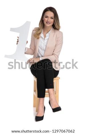 Fiatal szőke nő üzletasszony legelső felirat mutat Stock fotó © feedough