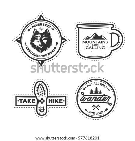 Mountain Illustration, outdoor adventure logo badge. Wander LTD text. Vintage hand drawn camping emb Stock photo © JeksonGraphics
