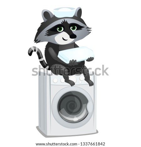 wasbeer · meid · vergadering · wasmachine · geïsoleerd · witte - stockfoto © Lady-Luck