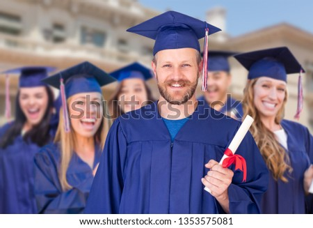 Büszke férfi diplomás sapka talár egyéb Stock fotó © feverpitch