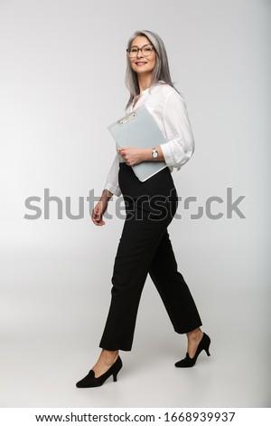 Porträt zufrieden Frau tragen Büro Kleidung Stock foto © deandrobot