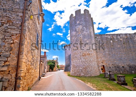 village of svetvincenat ancient square and stone landmarks view stock photo © xbrchx