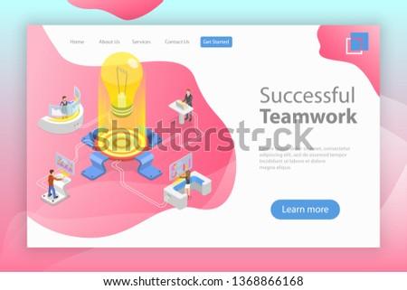teamleider · isometrische · vector · leiderschap · geslaagd · teamwerk - stockfoto © tarikvision