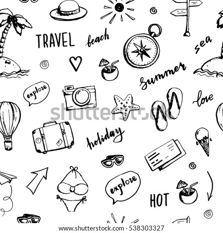 Travel Suitcase Seamless Pattern Vector. Summer Luggage. Journey, Tourism. Cute Graphic Texture. Tex Foto d'archivio © pikepicture