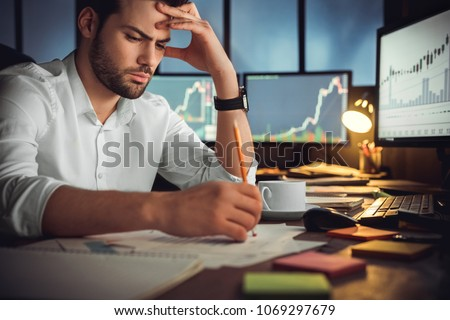 worried businessman in office confused man with question mark flat vector illustration stock photo © makyzz