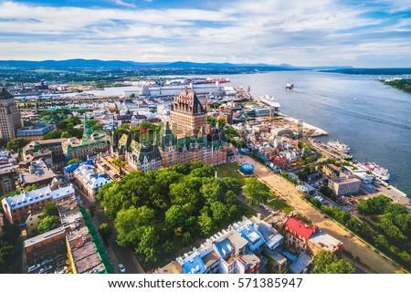 Otel Quebec şehir yaz güzel manzara Stok fotoğraf © Lopolo