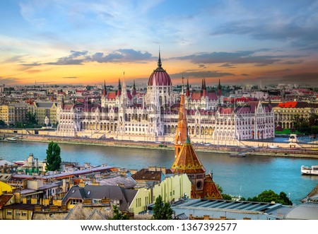 Budapest city skyline - hungarian parliament building, cityscape Stock photo © Winner