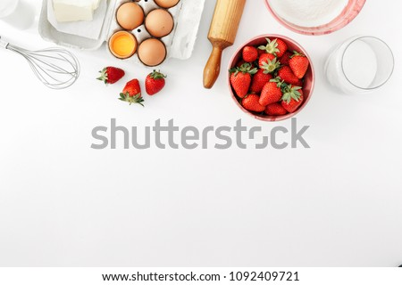 Recipe for strawberry pie. Raw ingredients for cooking strawberry pie  Stock photo © Illia