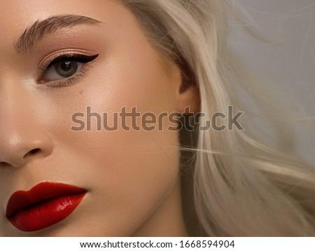 Aşırı model kırmızı ruj makyaj Stok fotoğraf © serdechny