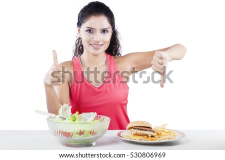 Diet and health concept. Healthy japanese food. Beautiful blonde girl with red lips and manicured na Stock photo © serdechny