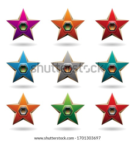 Colorful Embossed Stars with Hexagon Shaped Loudspeakers Vector  Stock photo © cidepix