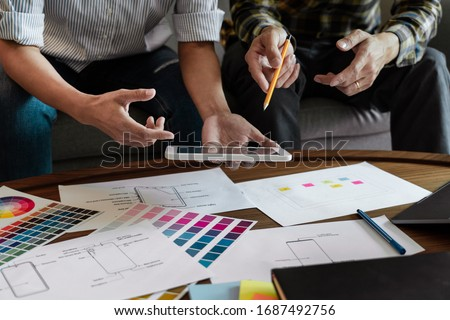 business technology concept, creative team designer choosing sam Stock photo © snowing