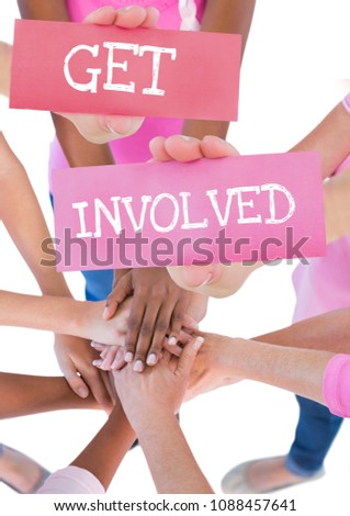 Get involved text and pink breast cancer awareness women holding card Stock photo © wavebreak_media