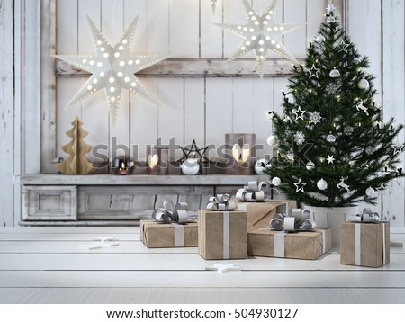 ルーム · クリスマスツリー · 装飾された · 表 · 休日 · お祝い - ストックフォト © galitskaya