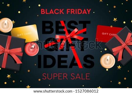 Stock photo: Black Friday Super Sale. Best gift ideas. Black gift box on dark background, design 2020. Vector ill
