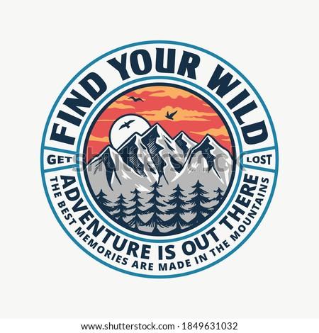 Montana explorador gráfico camiseta vintage dibujado a mano Foto stock © JeksonGraphics