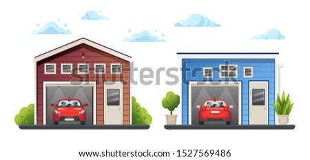 два открытых различный красный автомобилей внутри Сток-фото © MarySan