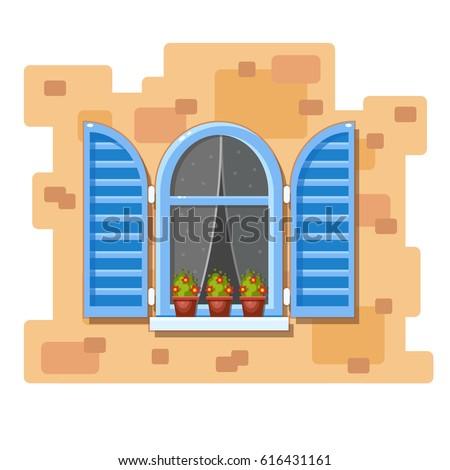 Open houten venster transparant glas Stockfoto © konturvid