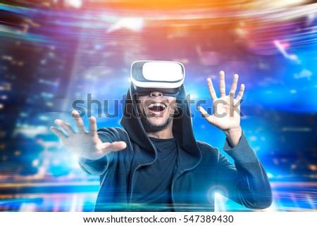 3d · szemüveg · néz · jövő · férfi · televízió · otthon - stock fotó © galitskaya