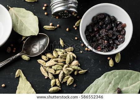 Top view of aromatic stuff in bowls on table prepared for soap making process Stock photo © pressmaster