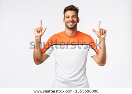 Waist-up cheerful, good-looking bearded man in good shape, enjoy workout, dedicate life to sport and Stock photo © benzoix