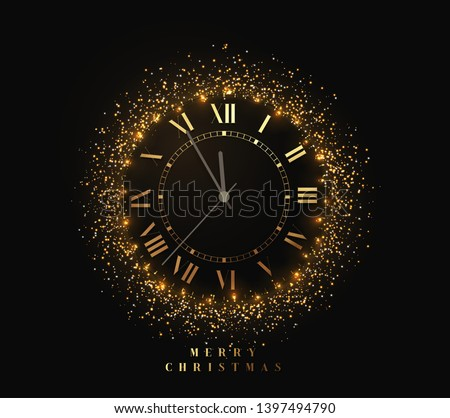 2020 New Year shiny gold clock, five minutes to midnight. Merry Christmas. Vector illustration. Stock photo © ikopylov