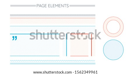 Page Design elementsset includes stripped blocks, text emphasis circles, infographic circle, divider Stock photo © kyryloff