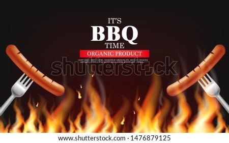 Bbq sausage fire Vector realistic. Vertical menu brochure templa Stock photo © frimufilms