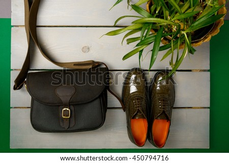 Foto stock: Verde · oxford · zapatos · bolsa · maceta