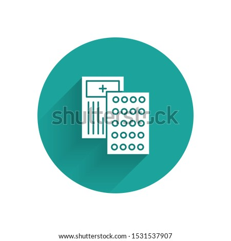 Blister pack icon with shadow on a green circle. Vector pharmacy illustration Stock photo © Imaagio