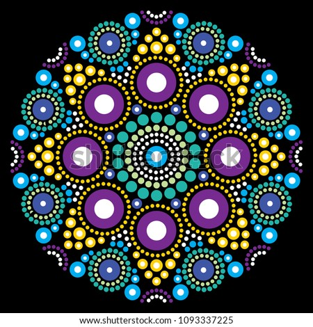 Dot art vector flower or star, traditional Aboriginal dot painting design, indigenous decoration fro Stock photo © RedKoala